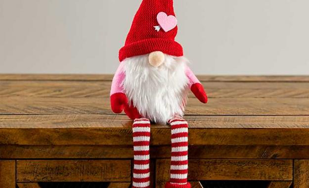 Plush Valentine's Gnome with striped socks