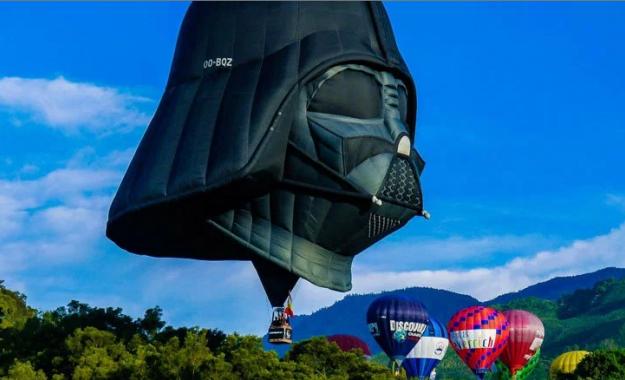 Darth Vader Hot Air Balloon in flight