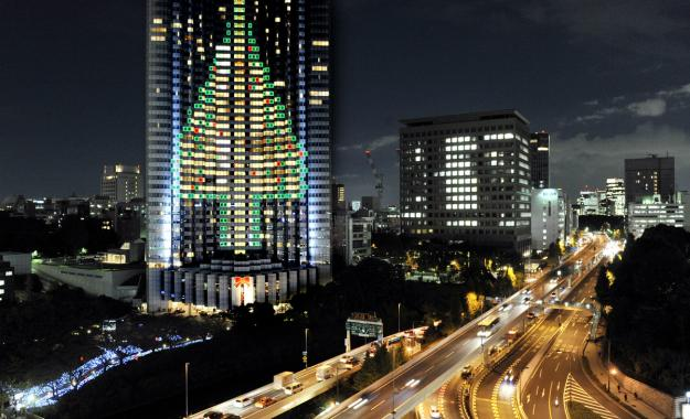 Extreme Christmas Trees -  Illuminated from the wall of Tokyo's Akasaka Grand Prince hotel