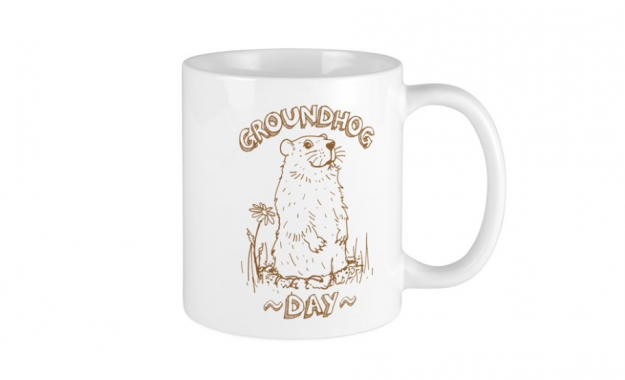 ceramic mug with groundhog day logo