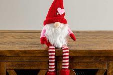 Plush Valentine's Gnome with striped socks