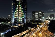 Extreme Christmas Trees -  Illuminated from the wall of Tokyo's Akasaka Grand Prince hotel