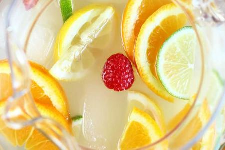 top view of a glass of lemonade