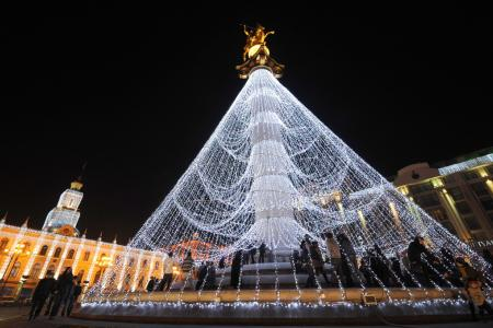 Extreme Christmas Trees - St. George Tree - in the centre of Tbilisi