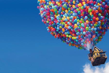 It takes lots of balloons to lift a house